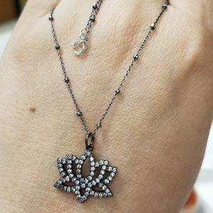Black Lotus CZ Necklace